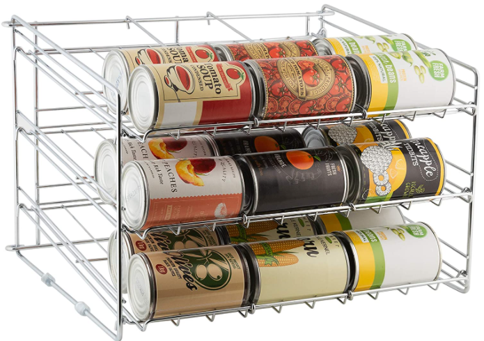 Low capacity can storage rack systems